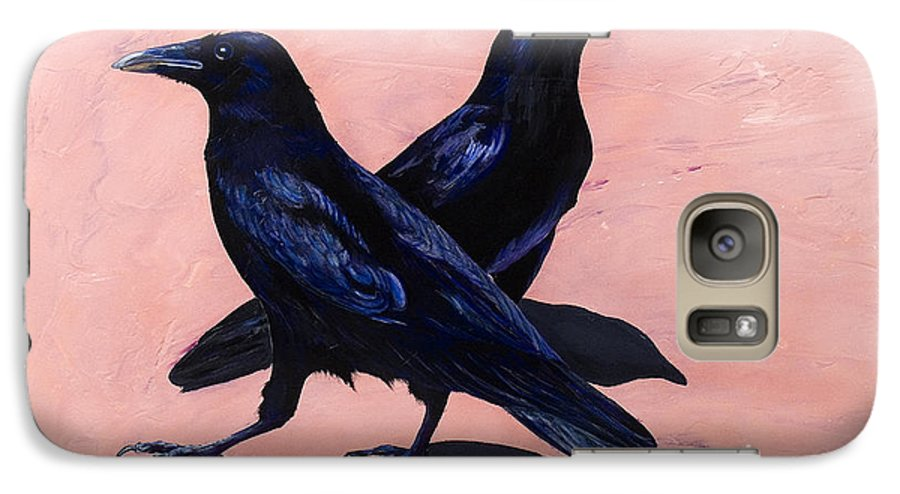 Crows Galaxy S7 Case featuring the painting Crows by Sandi Baker