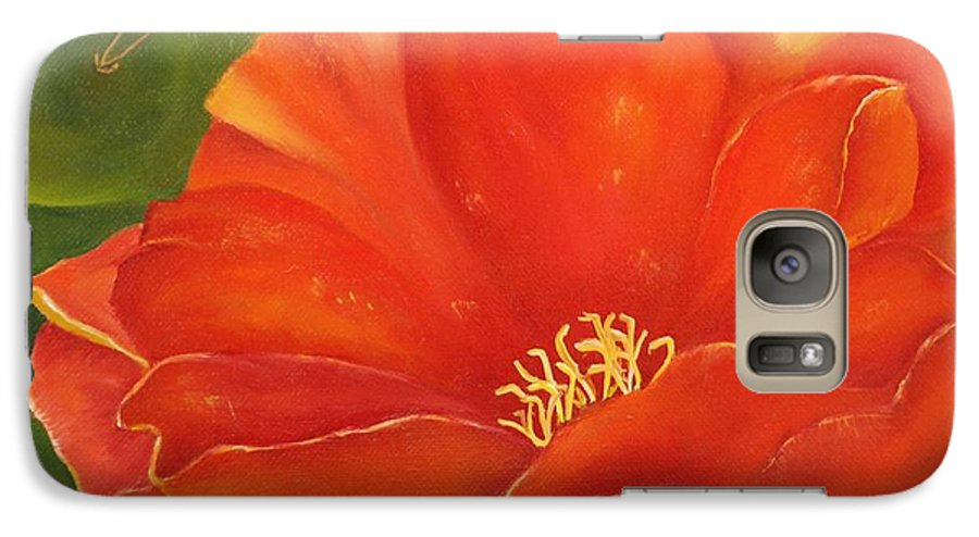 Cactus Galaxy S7 Case featuring the painting Cruces Bloom by Teresa Lynn Johnson