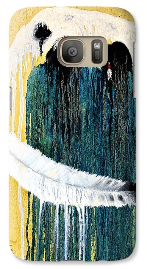 Native American Galaxy S7 Case featuring the painting Crying For A Vision by Patrick Trotter