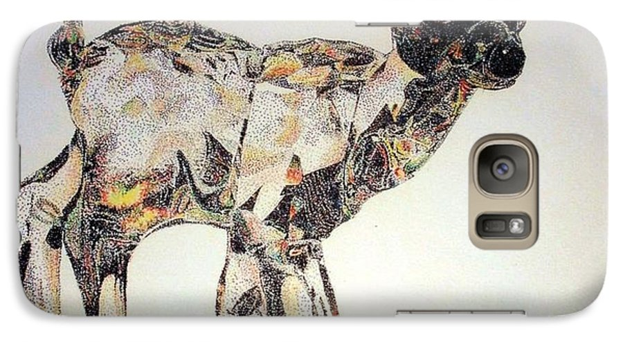 Deer Fawn Crystal Figurine Swarovsky Galaxy S7 Case featuring the painting Crystal by Tony Ruggiero