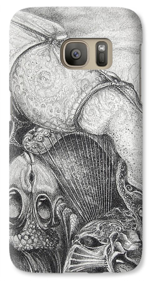 Surrealism Galaxy S7 Case featuring the drawing Ctulhu Seedpods by Otto Rapp