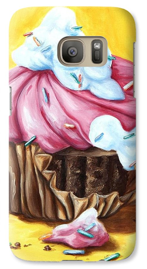 Cupcake Galaxy S7 Case featuring the painting Cupcake by Maryn Crawford