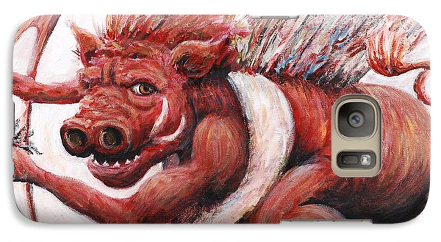 Pig Galaxy S7 Case featuring the painting Cupig by Nadine Rippelmeyer