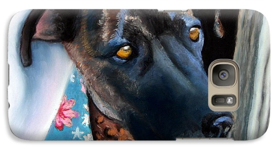 Great Dane Galaxy S7 Case featuring the painting Whats Going On? by Minaz Jantz