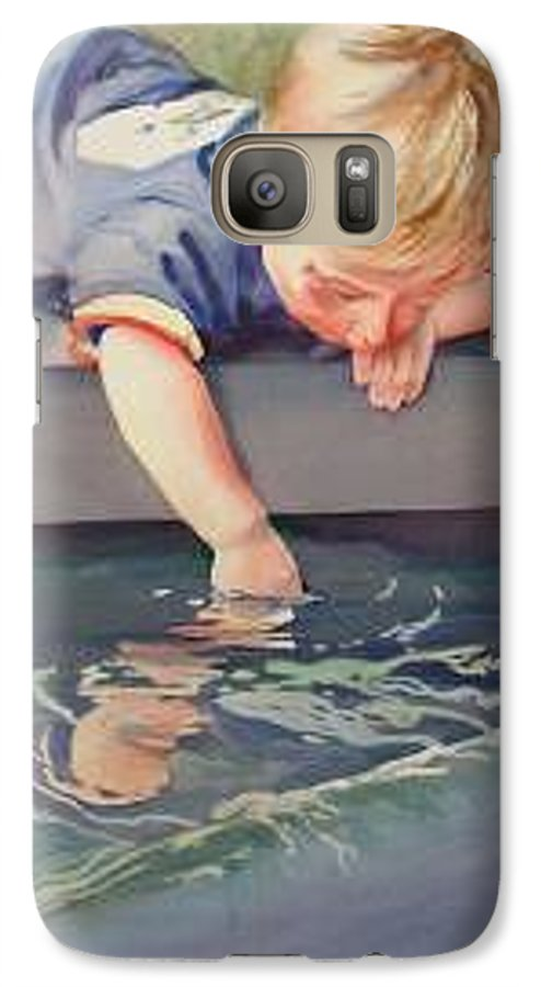 Boy Playing In Water Galaxy S7 Case featuring the painting Curious by Marlene Gremillion