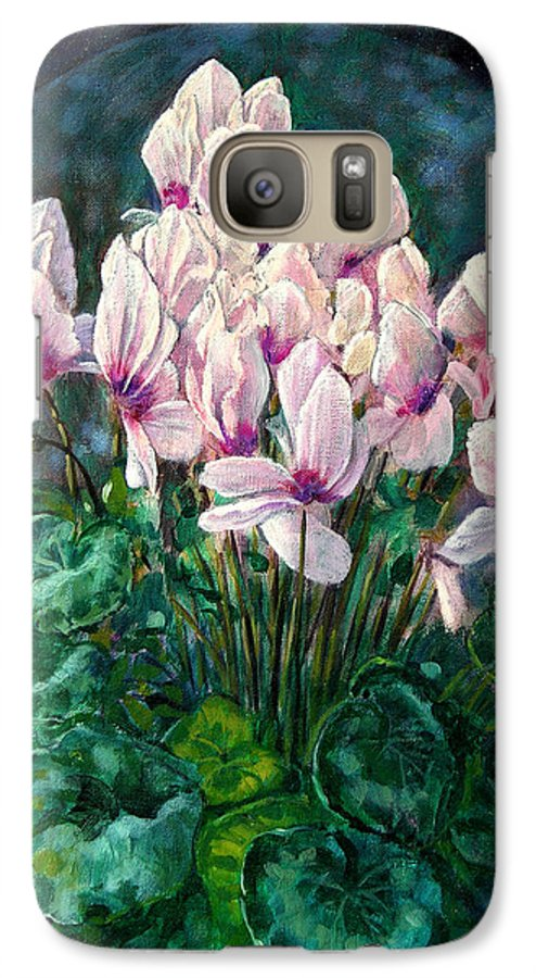 Cyclamen Flowers Galaxy S7 Case featuring the painting Cyclamen In Orbit by John Lautermilch