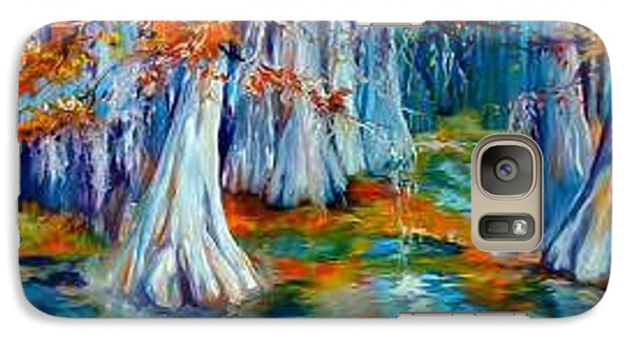 Tree Galaxy S7 Case featuring the painting Cypress Trees Along The Bayou by Marcia Baldwin