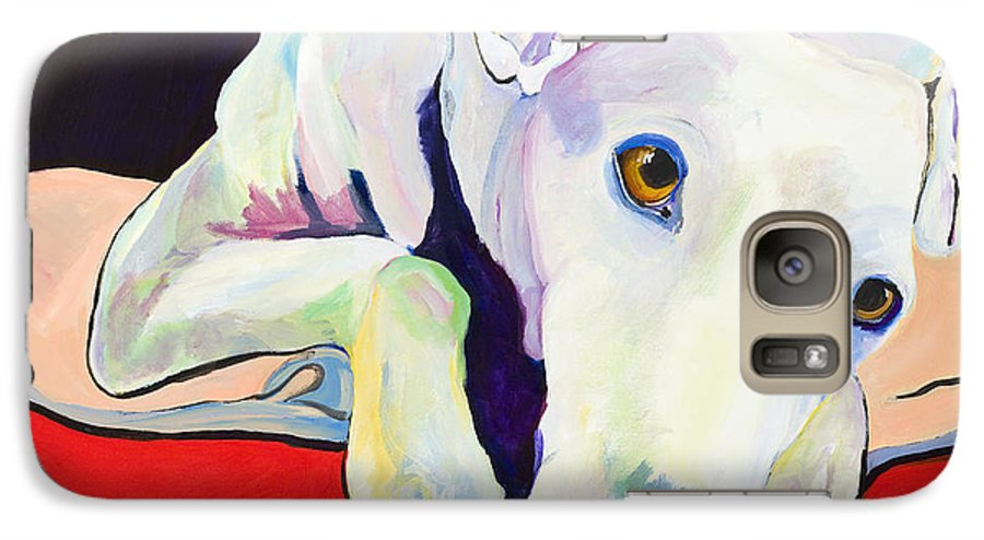 Animals Pets Greyhound Galaxy S7 Case featuring the painting Cyrus by Pat Saunders-White