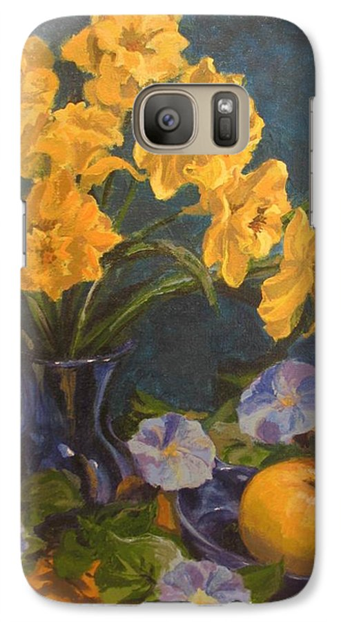 Still Life Galaxy S7 Case featuring the painting Daffodils by Karen Ilari