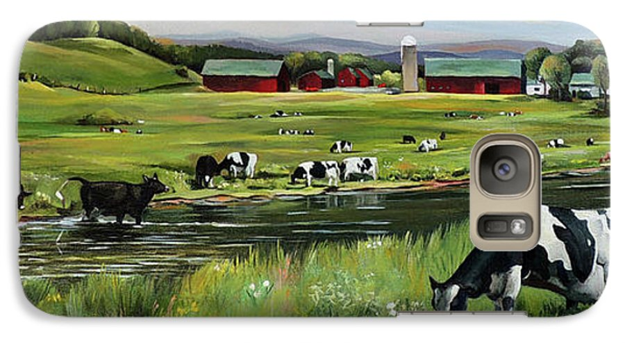 Landscape Galaxy S7 Case featuring the painting Dairy Farm Dream by Nancy Griswold