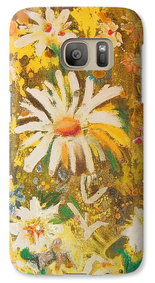 Floral Abstract Galaxy S7 Case featuring the painting Daisies In The Wind Vii by Henny Dagenais