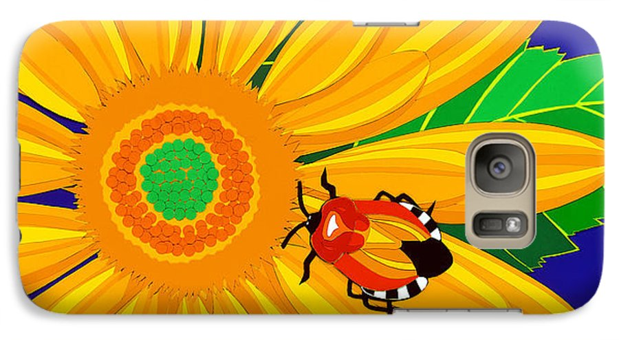 Nature Galaxy S7 Case featuring the drawing Daisy And Shieldbug by Lucyna A M Green