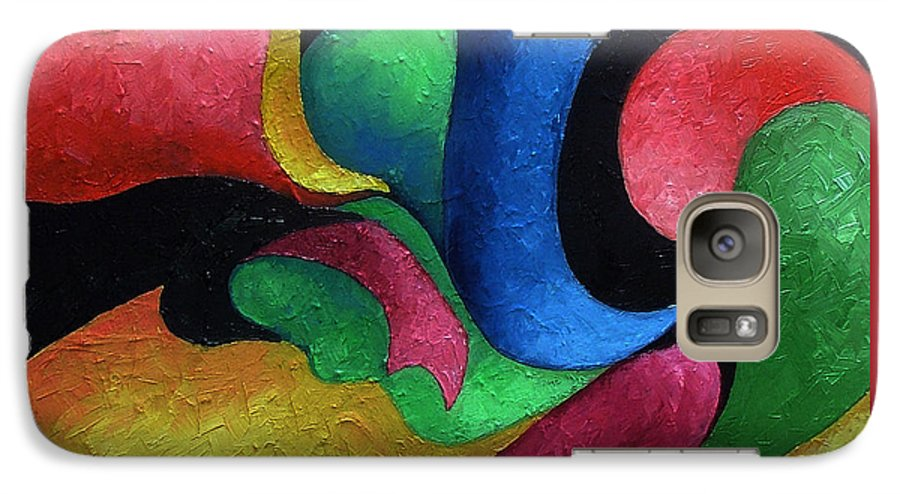 Abstract Galaxy S7 Case featuring the painting Dance With Me by Elizabeth Lisy Figueroa
