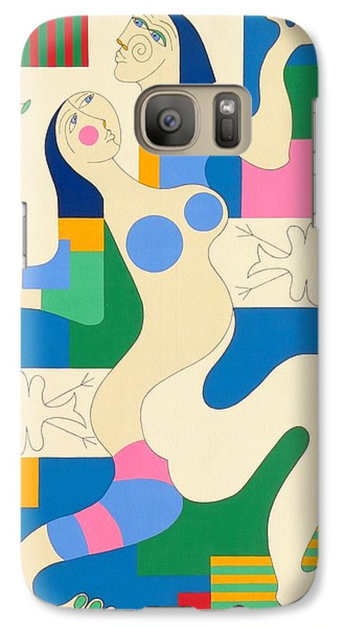 Modern Constructivisme People Birds Original Stylisme Galaxy S7 Case featuring the painting Dancing by Hildegarde Handsaeme