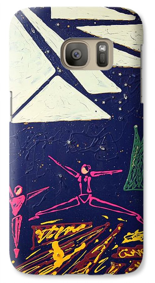 Dancers Galaxy S7 Case featuring the mixed media Dancing Under The Starry Skies by J R Seymour
