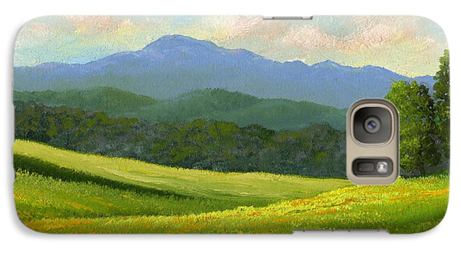 Landscape Galaxy S7 Case featuring the painting Dandelion Meadows by Frank Wilson