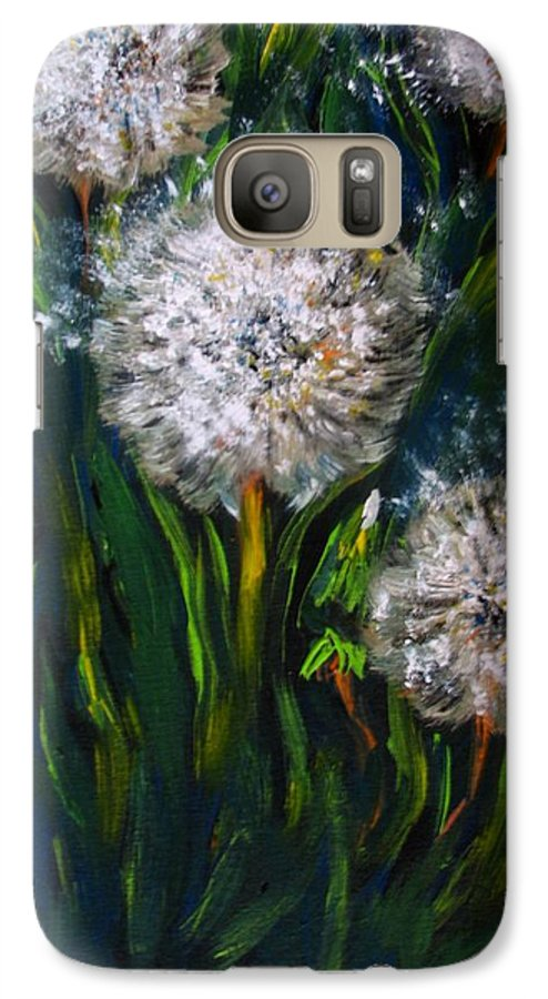 Flower Art Galaxy S7 Case featuring the painting Dandelions Acrylic Painting by Natalja Picugina