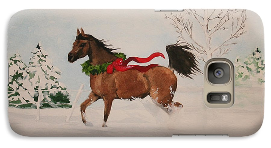 Horse Galaxy S7 Case featuring the painting Dashing Thru The Snow by Jean Blackmer