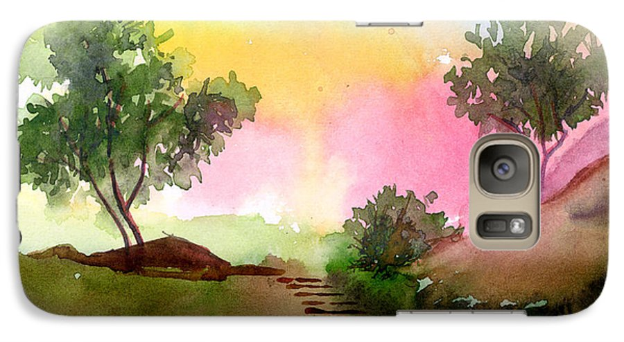Landscape Galaxy S7 Case featuring the painting Dawn by Anil Nene