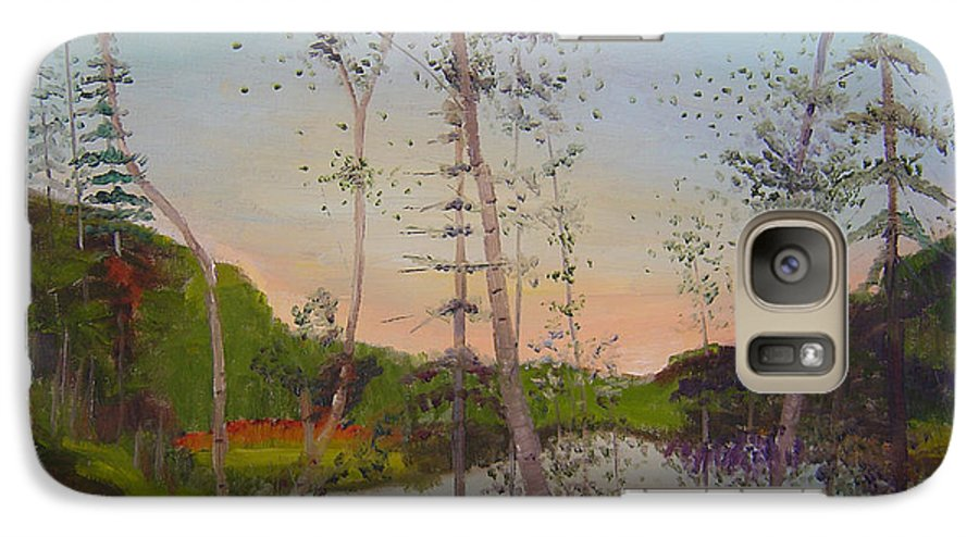 Landscape Galaxy S7 Case featuring the painting Dawn By The Pond by Lilibeth Andre