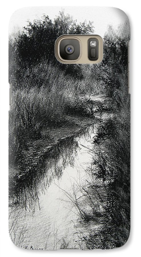 Charcoal Galaxy S7 Case featuring the drawing Dawn Marsh by Keith Burgess