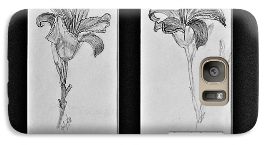 Pencil Sketches Galaxy S7 Case featuring the drawing Day Lilies by Peggy King