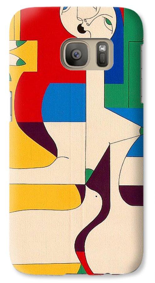 Women Birds Music Guitar Flower Humor Voice Galaxy S7 Case featuring the painting De Sopraan by Hildegarde Handsaeme