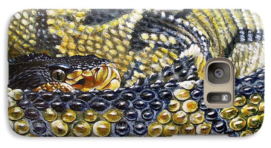 Snake Galaxy S7 Case featuring the painting Deadly Details by Cara Bevan