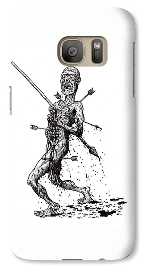 Dark Galaxy S7 Case featuring the drawing Death March by Tobey Anderson