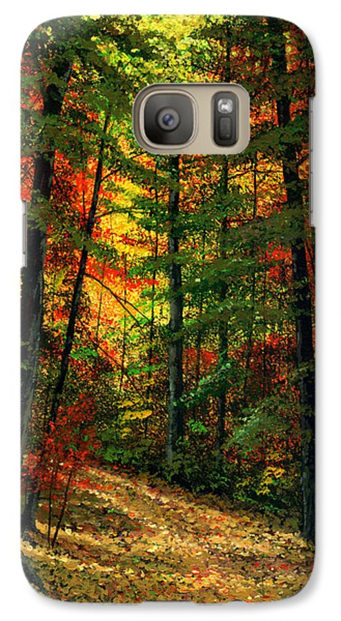 Landscape Galaxy S7 Case featuring the painting Deep In The Forest by Frank Wilson