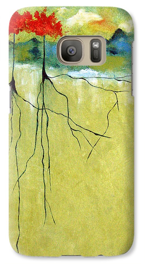 Abstract Galaxy S7 Case featuring the painting Deep Roots by Ruth Palmer