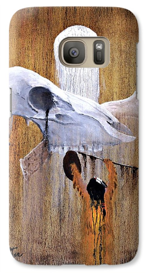 American Indian Galaxy S7 Case featuring the painting Deer Song by Patrick Trotter