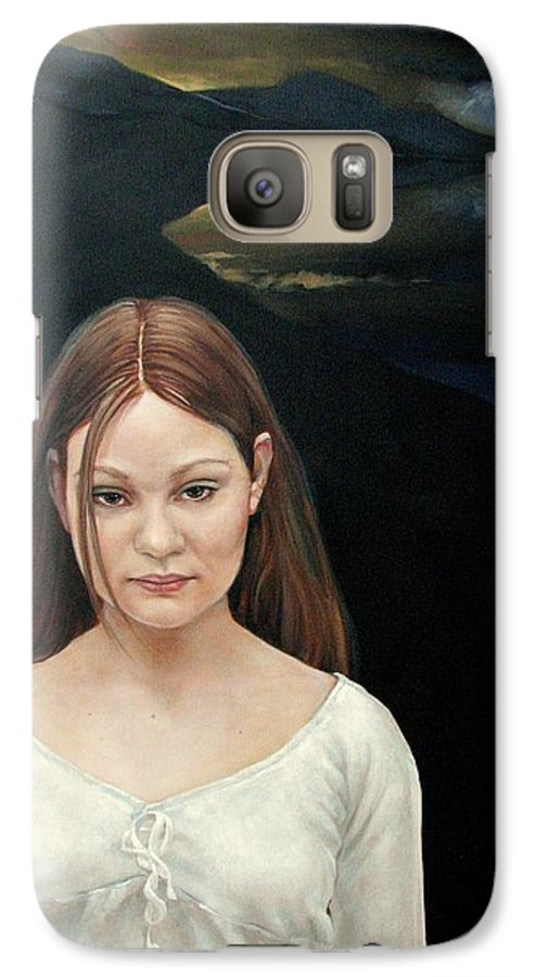Facial Expressioin Galaxy S7 Case featuring the painting Defiant Girl 2004 by Jerrold Carton