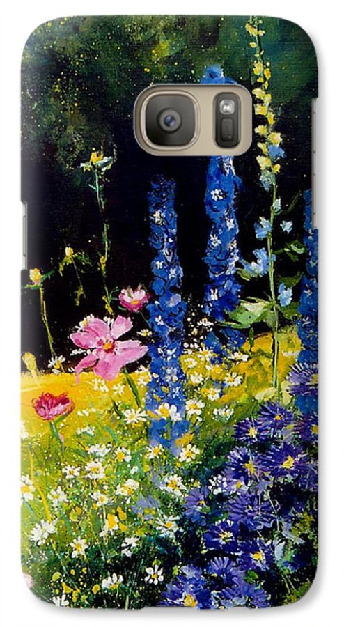 Poppies Galaxy S7 Case featuring the painting Delphiniums by Pol Ledent