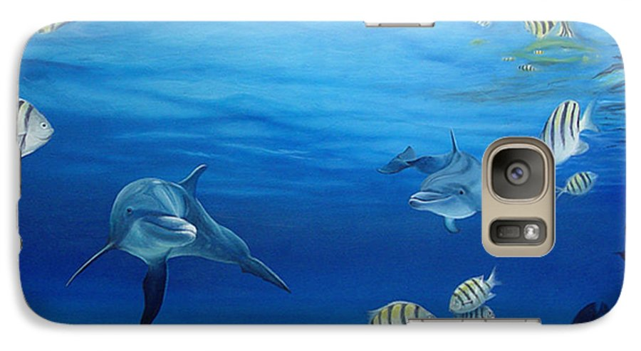 Seascape Galaxy S7 Case featuring the painting Delphinus by Angel Ortiz