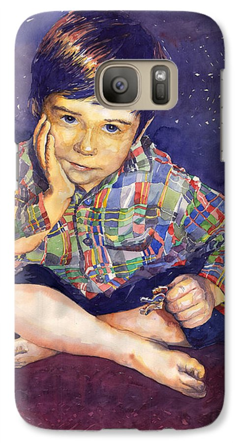 Watercolor Watercolour Portret Figurativ Realism People Commissioned Galaxy S7 Case featuring the painting Denis 01 by Yuriy Shevchuk