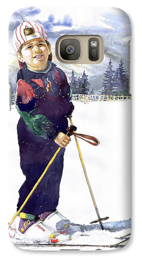 Watercolor Watercolour Figurative Ski Children Portret Realism Galaxy S7 Case featuring the painting Denis 03 by Yuriy Shevchuk