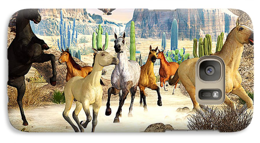 Horses Galaxy S7 Case featuring the photograph Desert Horses by Peter J Sucy