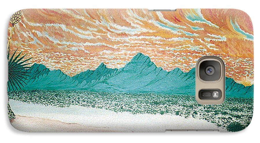 Desertscape Galaxy S7 Case featuring the painting Desert Splendor by Marco Morales