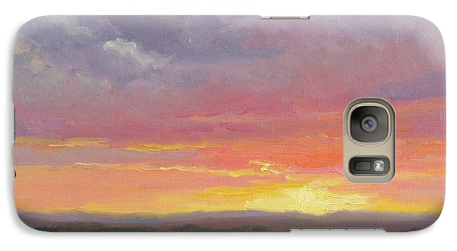 Sunset Galaxy S7 Case featuring the painting Desert Sundown by Bunny Oliver