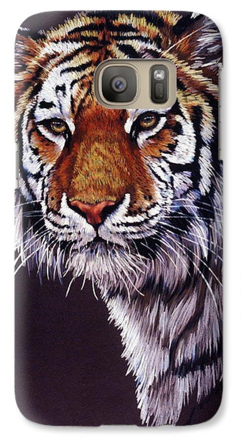 Tiger Galaxy S7 Case featuring the drawing Desperado by Barbara Keith