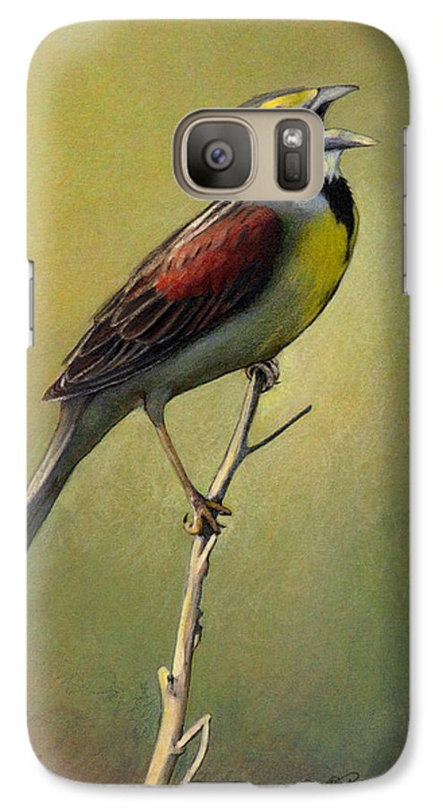 Birds Galaxy S7 Case featuring the drawing Dickcissel Summer Song by Bruce Morrison