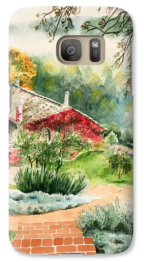 View Of Pathway To Red Cottage And Mountains In Mist Galaxy S7 Case featuring the painting Dievole Vineyard In Tuscany by Judy Swerlick
