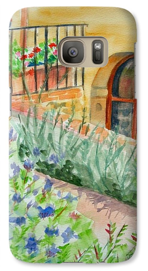 Flowers Surrounding Apartment On Vineyard Galaxy S7 Case featuring the painting Dievole Vineyard by Judy Swerlick