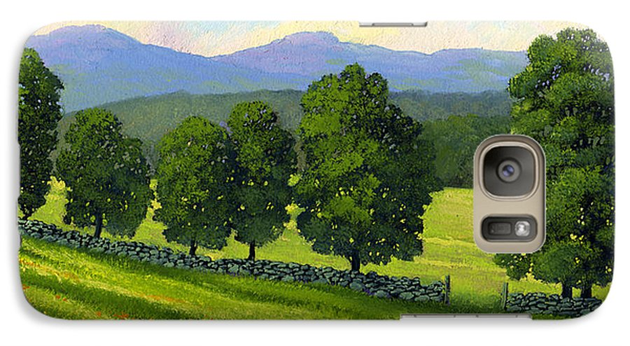 Landscape Galaxy S7 Case featuring the painting Distant Mountains by Frank Wilson