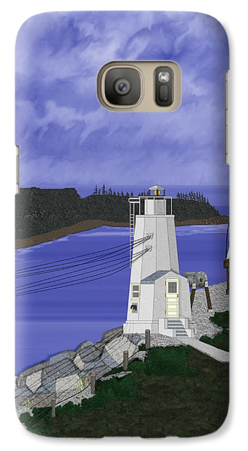 Lighthouse Galaxy S7 Case featuring the painting Dofflemeyer Point Lighthouse At Boston Harbor by Anne Norskog