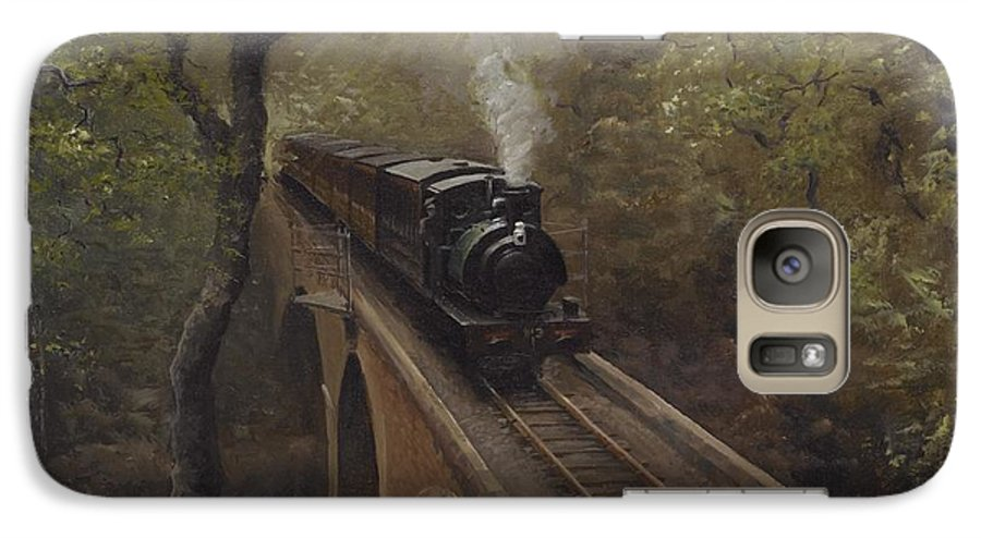 Steam Galaxy S7 Case featuring the painting Dolgoch Viaduct by Richard Picton