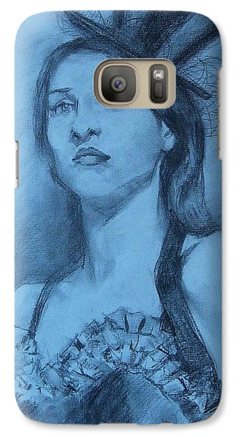 Portrait Galaxy S7 Case featuring the drawing Dolly In Costume by Debra Jones