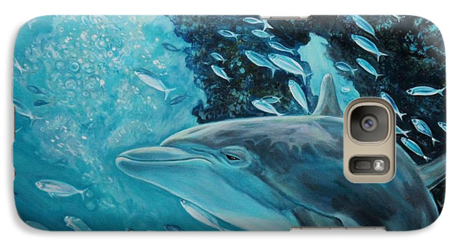 Underwater Scene Galaxy S7 Case featuring the painting Dolphin With Small Fish by Diann Baggett