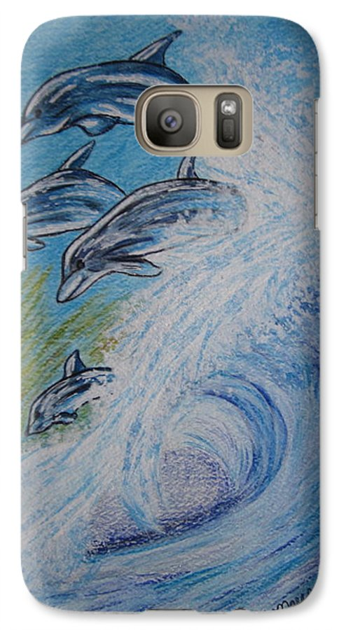 Dolphins Galaxy S7 Case featuring the painting Dolphins Jumping In The Waves by Kathy Marrs Chandler